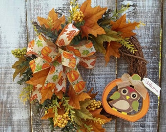 """Owl Fall Wreath for Front Door, Multi Ribbon Bow, Faux Berries, Eucalyptus, 14"""" Grapevine Wreath Base, """"Welcome"""" Indoor/Outdoor Decor Wreath"""