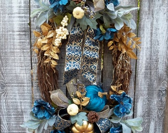 """Teal Pumpkin Wreath for Front Door, Elegant Glitter and Gold Bow and Sprays, Berries, 34"""" Large Oval Grapevine Wreath, Door Decor Wreath"""