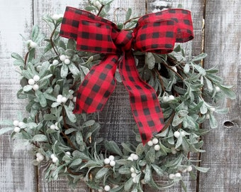Victorian Winter Wreath for Front Door, Red Buffalo Check Ribbon Bow with Frosted Leaves Grapevine Wreath Base, Everyday Decor Indoor Wreath