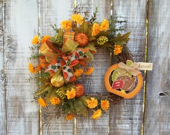 """Turkey Fall Wreath for Front Door, Multi Ribbon Bow, Faux Flowers, Pumpkins 14"""" Grapevine Wreath Base, """"Harvest"""" Indoor/Outdoor Decor Wreath"""