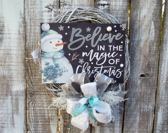 """Snowman Christmas or Winter Wreath for Front Door, Holiday Winter Wreath,  Frosty Blue Large 12"""" Bow, 18"""" White  Painted Grapevine Wreath"""