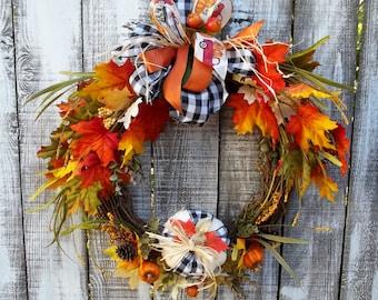 "Fall Wreath for Front Door, Buffalo Check Pumpkin and Bow, 3 Ribbon & Raffia Bow, Fall Leaves 18"" Grapevine Wreath Base, Door Decor Wreath"