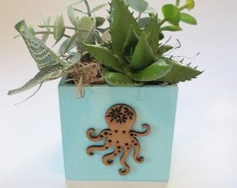 """Beach Succulent Faux Arrangement in 3.25"""" Square Wooden Planter Featuring a Laser Cut Octopus Embellishment, Faux Plant Desk or Shelf Decor"""