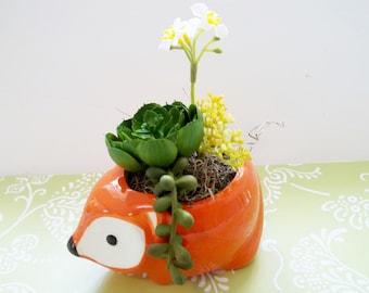 Fox Succulent Faux Arrangement in Ceramic Planter Featuring 2 Succulents and 1 Faux Floral Stem, Gift Idea Desk, Home, Office or Shelf Decor