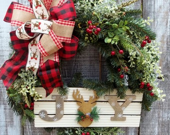 """JOY Rustic Christmas or Winter Wreath for Front Door, Reindeer Sign, Winter Wreath, Burlap & Buffalo Check Large 12"""" Bow with Pine Base"""