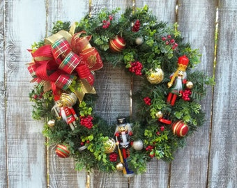"""Nutcracker Christmas or Winter Wreath for Front Door, Holiday Winter Wreath, Ornaments, Berries, Greenery Large 12"""" Bow with Pine Base"""