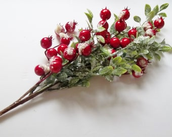 """Snowy Berry and Tea Leaf Pick, 20"""" Winter Floral Pick, Winter Wedding, Tree Decor, Wreathmaking & Floral Arranging Supplies, Home Decor"""