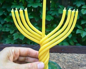 Mini beeswax Hanukkah menorah