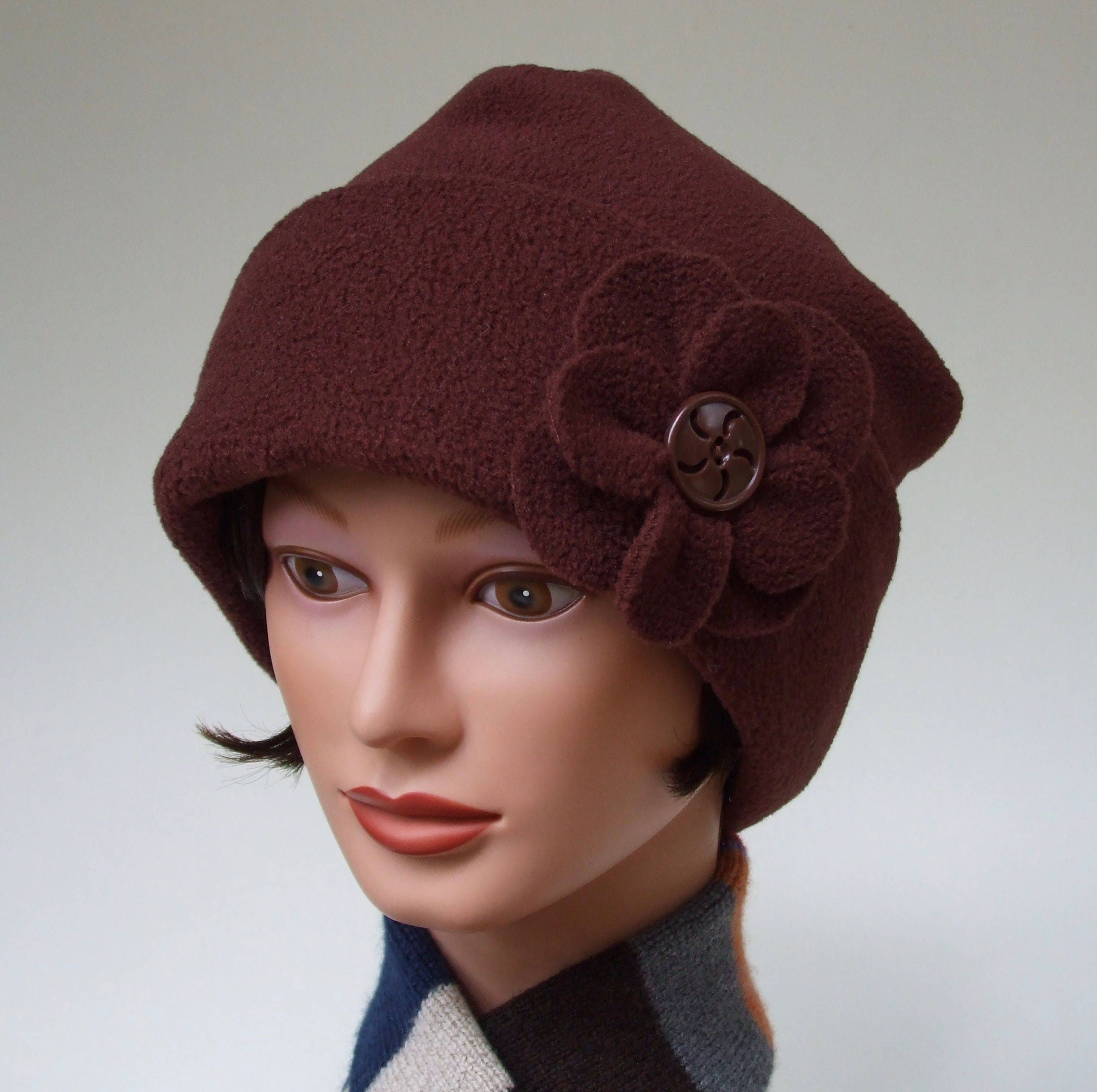 54d543b788c96 Cozy Fleece Hat for Women Roll up Cuff Chocolate Brown with