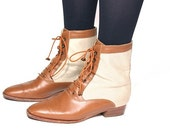 VTG 80's Canvas and Leather GUCCI Oxford Granny Ankle Boots 6