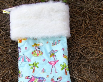 Flamingos beach pool Christmas stocking with white fur top quilted and lined