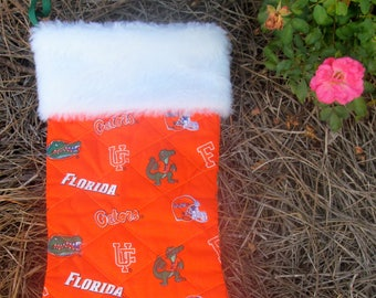 Florida Gators Christmas stocking with white fur top quilted and lined