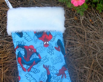 Spiderman Christmas stocking with white fur  fabric on top