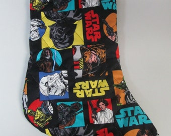 Star Wars  Christmas stocking with white fur top quilted and lined