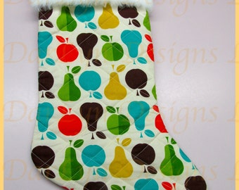 Quilted apples and pears  Christmas stocking