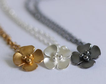 Silver, Gold Plated, Oxidised Buttercup Drop pendant
