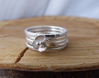 Silver stacking rings with  Buttercup flower