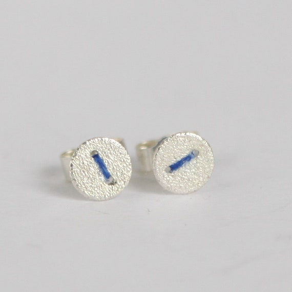 Tiny Silver Disc Earrings Studs With Embroidery Thread Stitch Etsy