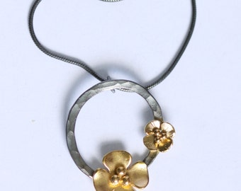 Gold plated Buttercup hoop pendant