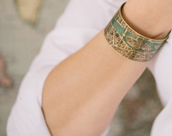 Vintage Paris Street Map Cuff Bracelet - French Cartography Map Jewelry - Travel Anniversary Gift - Parisian Gift Idea Her