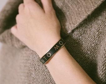 Memento Mori - Skinny Cuff Bracelet - Gothic Jewellery - Latin Quote Bracelet - Literary Gifts