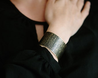 Book of the Dead Brass Cuff Bracelet - Hieroglyphic Egyptian Jewelry - Ancient Egypt Hieroglyph - Gift for Her - Egyptologist Gift