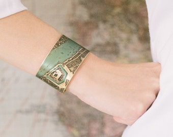London Map Cuff Bracelet - Vintage Elizabethan Street Map - Tower of London - Geeky Gift - Cartography - Map Gift