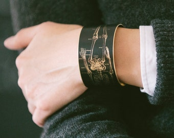 Anatomical Skeleton - Brass Bracelet - Anatomy Cuff - Geeky Jewelry - Medical Illustration - Unique Gift - Science - Doctor Gift For Her
