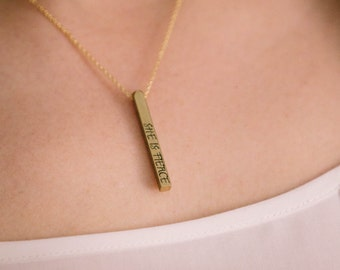 She Is Fierce Jewellery - Bar Necklace - Bookish Gift - Shakespeare Quote Jewelry - Vertical Bar Necklace - Literary Gifts