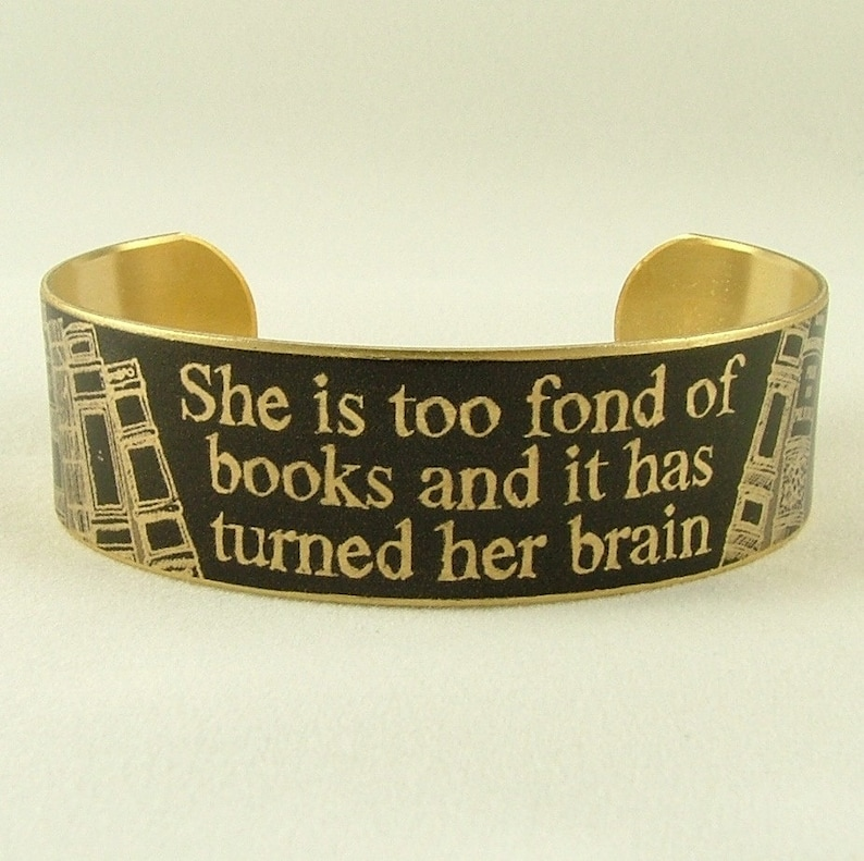 She Is Too Fond Of Books Bracelet  Book Lover Gift for Wife  image 0