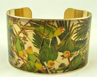 Carolina Parakeet Bracelet - John Audubon Parrot Bird Cuff - Ornithology Gift - Bird Jewellery