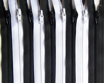 Black and White YKK Zipper Bundle 10 Zippers- Available in 3,4,5,6,7,8,910,11,12,14,16,18,20,22,24 and 28 Inches