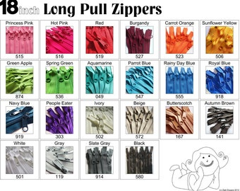 18 Inch 4.5 Ykk Purse Zippers with a Long Handbag Pulls Mix and Match Your Choice of 100 Zippers