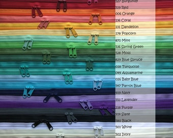 Mix and Match YKK ZIPPERS cherry red orange yellow green blue gray brown cream hot pink white Your Choice of 10 YKK Brand 6 Inch Zippers