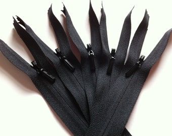 INVISIBLE Zippers -YKK Color 580 BLACK- 10 Pieces - available in 9, 12, 14, 16, 18, 22, 26, 30, and 54 inches
