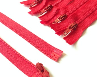 Cherry Red 3mm Nylon Coil YKK Separating Zippers Color 820- 5 pcs- Available in 5,6,7,8,10 and 14 inches