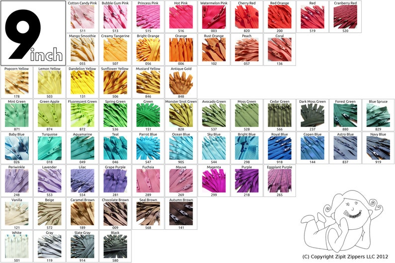 Your Choice Of 10 9 Inch YKK Zippers Mix and Match- Choose from 65 different light, bright, dark and neutral colors photo