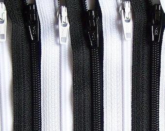 Black and White 4 Inch Zipper Bundle 20 Zippers