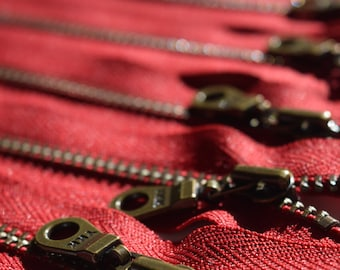 Metal Teeth Zippers- YKK Antique Brass Donut Pull Number 4.5s- 5 pc Cranberry Red 520- Available in 4, 5,6,7,8 9, 10,11,12,14 and 18 inch
