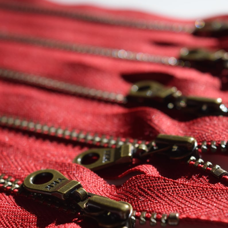 Metal Teeth Zippers YKK Antique Brass Donut Pull Number 4.5s image 0