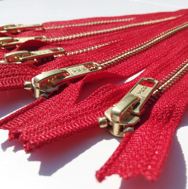 Metal Zippers YKK closed bottom brass teeth zips 5 pieces image 0