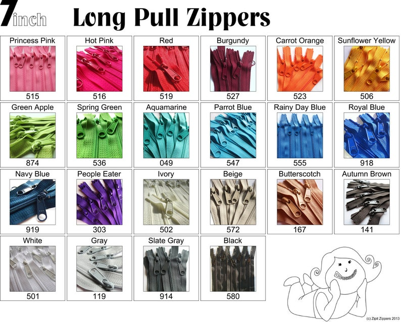 7 Inch 4.5 Ykk Purse Zippers with a Long Handbag Pulls Mix and image 0