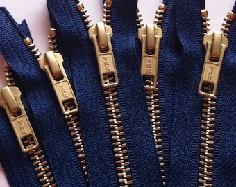 NUMBER 5s -Brass Zippers- YKK closed bottom gold metal teeth zips 5mm- (5) pieces - Navy Blue 919- Available in 7, 8, 12, and 20 Inches