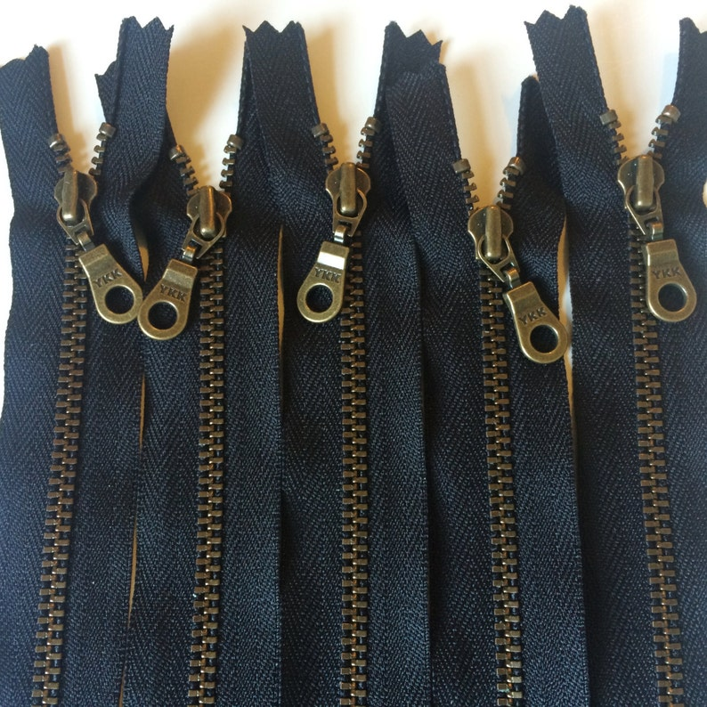 YKK Metal Teeth Zippers Antique Brass Donut Pull Color 580 image 0