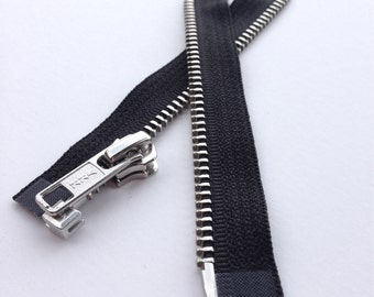Separating Metal Zippers -Great For Doll Clothes! - YKK nickel teeth zips- (1) piece - Black 580- Number 5s- 10 inches