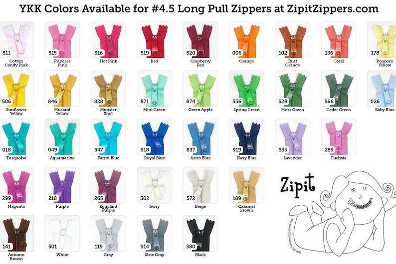 24 Inch 4.5 Ykk Purse Zippers with a Long Handbag Pulls Mix image 0