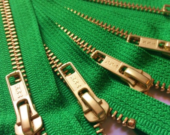 Metal Zippers- closed bottom ykk brass teeth zips- (5) pieces - Dublin Green 151- Number 5s- Available in 7,12, or 20 inches