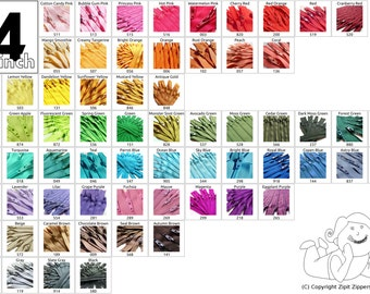 Your Choice of 10 YKK Brand 14 Inch Zippers - Choose from 65 colors -