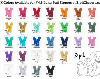 YKK Purse Zippers 4.5mm with a Long Handbag Pulls- You choose colors and size- 10 Zippers- 9,12,14,16,18, or 24 inches