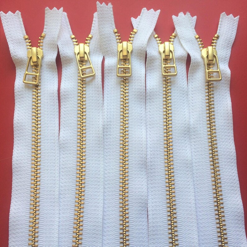 Brass or 18 inches finish and DHR wire style pull-closed bottom- YKK metal zippers with Gold pieces 5 White Color 501-9 12